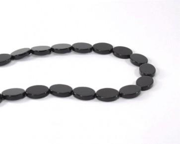 Schwarzer Achat, oval flach, 16 x 12 mm, 1 Perlenstrang