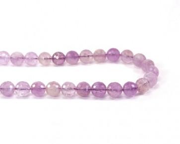 Amethyst Perlen, rund facettiert, violett, 10 mm, 1 Strang