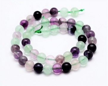 Regenbogen-Fluorit Perlen, rund, 6 mm, 1 Perlenstrang