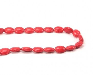 Howlith Perlen, ovales Kissen, rot, 14 x 10 mm, 1 Perlenstrang