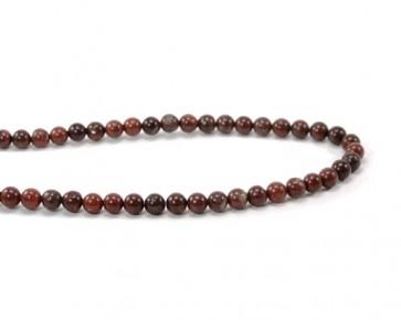 Edelsteinperlen, Breckzien-Jaspis Perlen, rund, rot / schwarz, 6 mm, 1 Perlenstrang