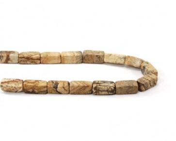 Landschafts-Jaspis-Perlen, Rechteck, 13 x 6 x 6 mm, 1 Perlenstrang
