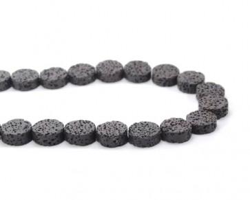 Lava-Perlen, 16 mm, Scheiben, flach rund, schwarz, 1 Lavastrang