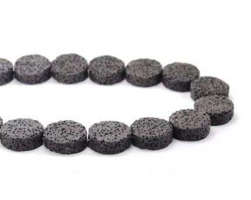 Lava-Perlen, Edelsteinperlen, schwarz, 20mm, Scheiben flach rund, 1 Lavastrang