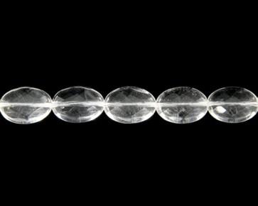 Bergkristall Perlen, Edelsteinperlen, oval facettiert, 18x10mm, 1 Perlenstrang