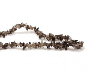 Rauchquarz Perlen, Edelstein-Splitter, braune Chips, 5 - 10 mm, XL Perlenstrang