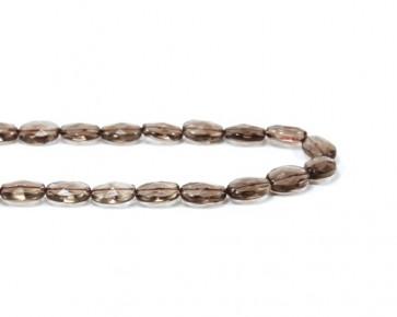 Rauchquarz-Perlen, Edelsteinperlen, facettierte ovale Kissen, 14x10mm, 1 Perlentrang