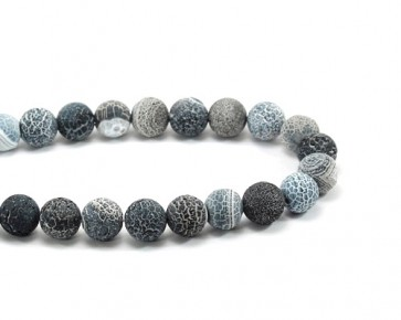 Verwitterter Crackle Achat, Edelstein-Perlen, matt grau blau gefrostet, rund, 10mm, 1 Strang