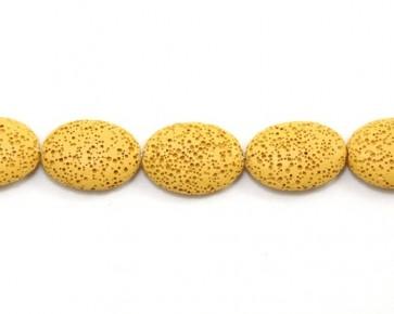 Lavaperlen, Edelsteinperlen, oval flach, ockergelb, 25 x 20 mm, 1 Strang