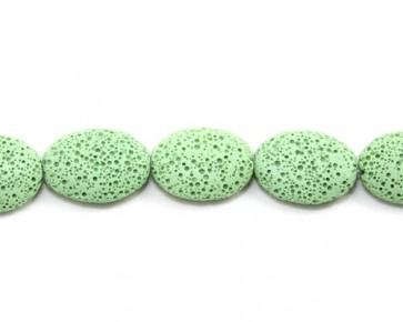 Lavaperlen, Edelsteinperlen, oval flach, minz-grün, 25 x 20mm, 1 Strang