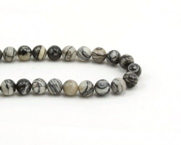 Picasso Jaspis Perlen, rund, schwarz-grau gestreift, 8mm, 1 Perlenstrang