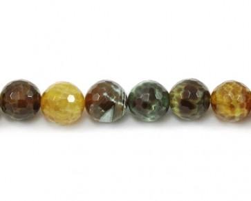 Drachenachat, Schlangenachat Perlen, rund facettiert, grün-braun-orange, 14 mm, 1 Perlenstrang