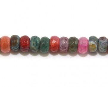 Regenbogen Crackle Achat Perlen Strang, Rondellen facettiert, mehrfarbig, 1 Perlenstrang