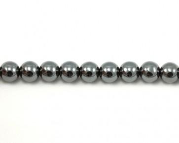 Hämatit Perlen, rund, dunkles silber, 8 mm, 1 Perlenstrang