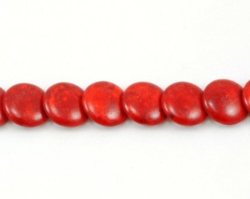 Howlith Perlen, Linsen überlappend, rot, 14 mm, 1 Perlenstrang