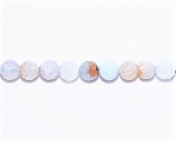 Crackle Achat Edelstein-Perlen, 12mm, rund facettiert, hellblau-türkis, 1 Perlenstrang