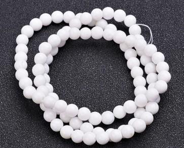 Jade Perlen, Edelsteinperlen, rund, weiss, 8 mm, 1 Perlenstrang