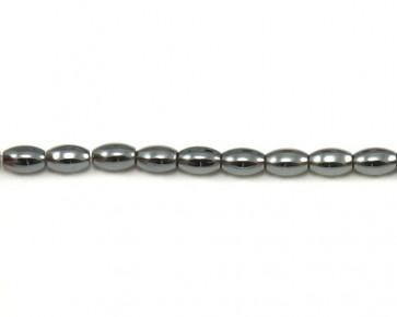 Hämatit Perlen, Edelsteinperlen oval, silber, 8x5mm, 1 Perlenstrang