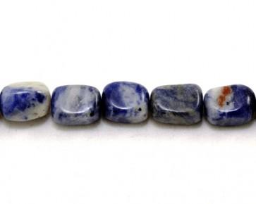 Sodalith Perlen, Edelsteinperlen, Nuggets, blau / weiss, 8x6mm, 1 Perlenstrang