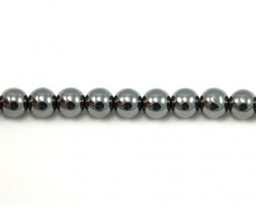 Hämatit Perlen, rund, silber, 6mm, 1 Perlenstrang