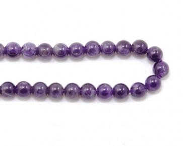 Amethyst Perlen, Edelsteinperlen rund, violett, 6mm, 1 Perlenstrang