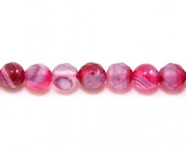 Achat-Perlen, rund facettiert, hot pink, 6 mm, 1 Perlenstrang