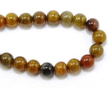 Edelsteinperlen, Crackle Achat Perlen, 8mm rund, gelb-braun-grün, 1 Strang