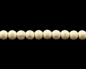 Howlith Perlen, Edelsteinperlen rund, creme-weiss, 8 mm, 1 Perlenstrang