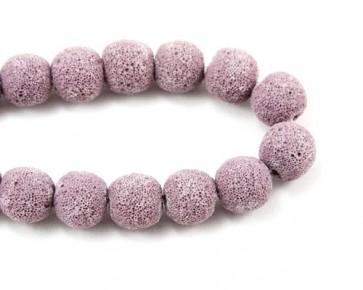 Lava-Perlen, Edelsteinperlen, rund, violett, 14 mm, 1 Lava Perlenstrang