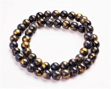 Jade Perlen, Naturstein, rund, schwarz / gold gefärbt, 8mm, 1 Strang