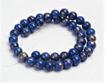 Jade Perlen, Naturstein, rund, lapis-blau / gold gefärbt, 6mm, 1 Strang