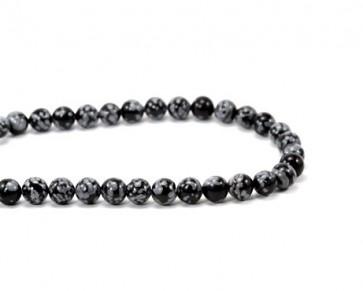 Schneeflocken-Obsidian, Edelstein Perlen, rund, 6 mm, 1 Perlenstrang
