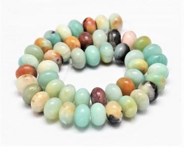 Amazonit Perlen, Rondellen, mehrfarbig, 8mm, 1 Perlenstrang