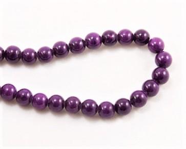 Jade Perlen, Naturstein, rund, violett gefärbt, 6mm, 1 Strang
