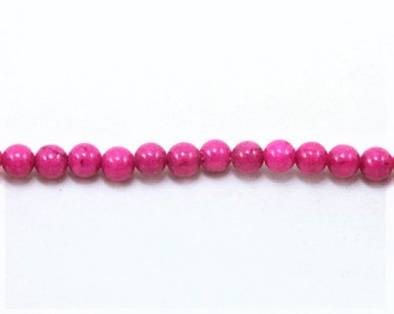 Jade Perlen, Naturstein, rund, magenta pink gefärbt, 6mm, 1 Strang