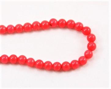 Jade Perlen, Naturstein, rund, korallen-rot gefärbt, 6mm, 1 Strang