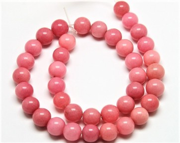 Malaysia Jade Perlen, Edelsteinperlen, rund, korallenrosa , 4 mm, 1 Perlenstrang