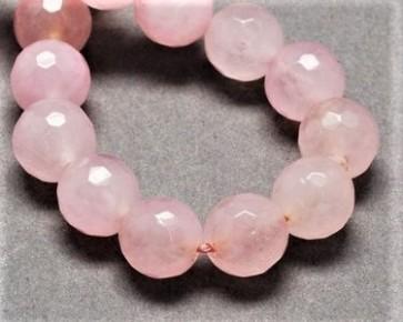 Jade Perlen, Edelsteinperlen, rund facettiert, rosa, 8 mm, 1 Perlenstrang