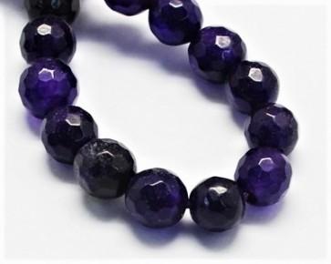 Jade Perlen, Edelsteinperlen, rund facettiert, violett, 8 mm, 1 Perlenstrang