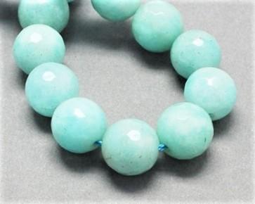 Jade Perlen, Edelsteinperlen, rund facettiert, hell-.türkis, 8 mm, 1 Perlenstrang