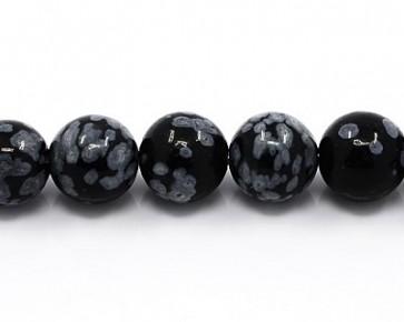 Schneeflocken-Obsidian, Edelstein Perlen, rund, 12 mm