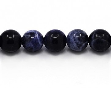 Sodalith Edelstein Perlen, rund, 10 mm, dunkelblau-weiss