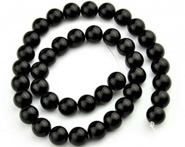 Blackstone Perlen, rund, schwarz, 12 mm, 1 Strang