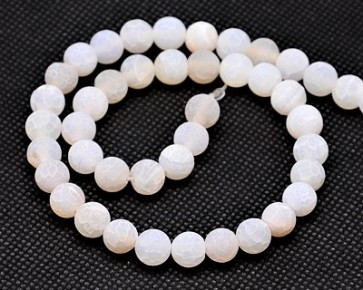 Verwitterter Crackle Achat, Edelstein-Perlen, matt weiss gefrostet, rund, 10 mm, 1 Strang