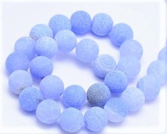 Verwitterter Crackle Achat, Edelstein-Perlen, matt himmelblau gefrostet, rund, 12mm, 1 Strang