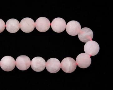 Gefrostete Rosenquarz Perlen, rund, matt rosa, ø 10mm, 1 Strang