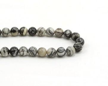 Picasso Jaspis Perlen, rund, schwarz-grau gestreift, 6mm, 1 Perlenstrang
