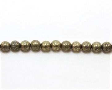 Pyrit-Perlen, Naturstein, rund, gold-olivgrün, 6 mm, 1 Perlenstrang