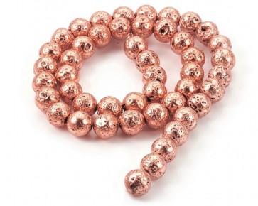 Lava-Perlen, Edelsteinperlen, rund, kupferfarbig, 6mm, 1 Perlenstrang