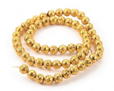 Lava-Perlen, Edelsteinperlen, rund, goldfarbig, 6mm, 1 Perlenstrang